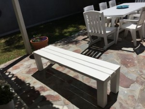 This is the bench Lou built for our patio.
